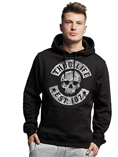 Thug Life Herren Camo Hoody Hoodie, Black/Grey, S
