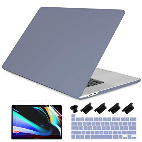 Dongke for MacBook Pro 13 inch Case 2020 Release Model A2338 M1 A2251 A2289, Plastic Hard Shell Case & Keyboard Cover Only Compatible with MacBook Pro 13 2020 Touch Bar Fits Touch ID, Lavender Gray