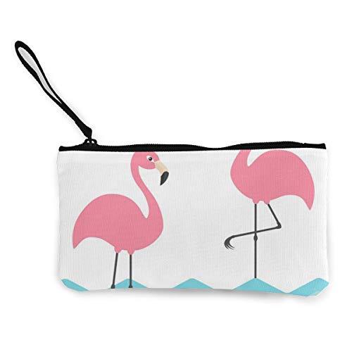 Architd Roze Flamingo Set Blauwe Zee Oceaan Water Coin portemonnee MakeUp Pouch Tas Met Rits Polsband Reizen Cosmetische Tas Voor Vrouwen Meisje Gepersonaliseerd