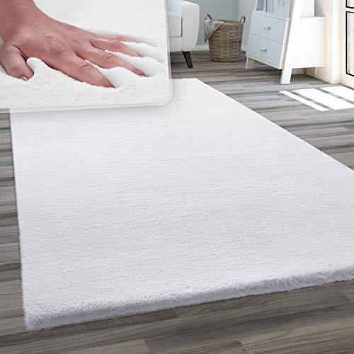 Teppich Wohnzimmer Kunstfell Plüsch Hochflor Shaggy Weich Waschbar, Grösse:80x150 cm, Farbe:Weiß