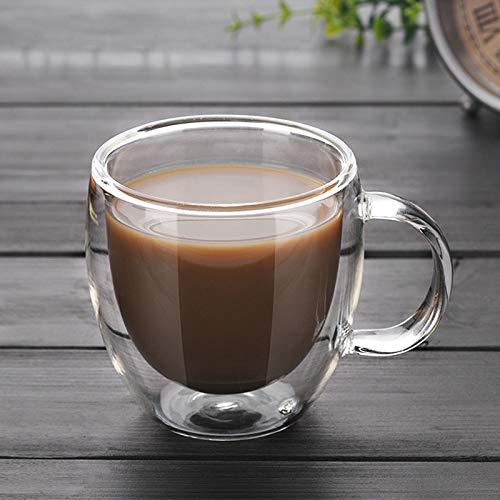 FHC Doble Taza de café Helado, Taza de café de Cristal Doble...