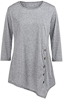 KTHGSBM shirt Summer Women's O-neck Shirts Casual Long Sleeve Button Ladies Tops Solid Tunic Chiffon Blouse Female Tops 6XL Gray