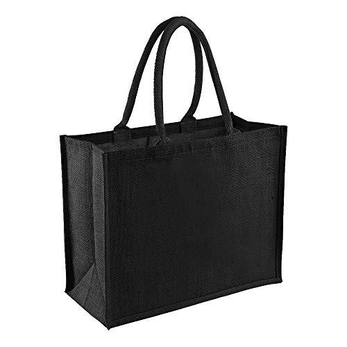Westford Mill Jute-Einkaufstasche, 21 Liter (Einheitsgröße) (Schwarz/Schwarz)