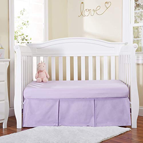 EVERYDAY KIDS Lavender Purple Pleated Crib Skirt; 100% Natural Cotton Nursery Crib Bedding Skirt for Baby Boys and Girls; Crib Dust Ruffle with Split Corners for Easy On and Off, 14 Inch Drop