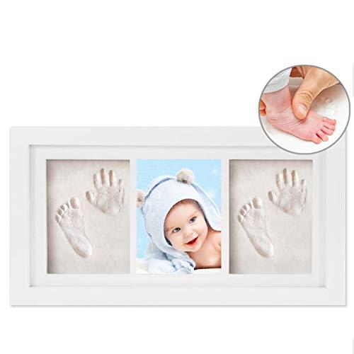 WesKimed Cornice Impronte Neonato Impronta Bambino,Set Impronta Bimbi con Porta Foto in Legno Doppio Sistema Argilla for Baby Ricordo Ideale【Versione2020】