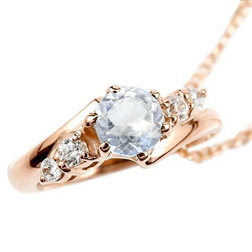 [アトラス] Atrus ネックレス メンズ 18金 ピンクゴールドk18 ブルームーンストーン ダイヤモンド ベビーリング ペンダント トップ 6月誕生石 チェーン(sv925ピンクメッキ)