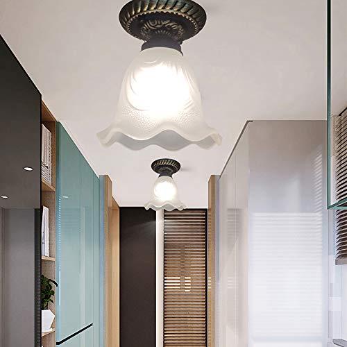 Luckly Lámpara de Techo Estilo Moderno Plafones de Vidrio Mate para Corredor Entrada E27 Iluminación de Interior con Cuerpo de Metal para Balcón Pasillo Dormitorio Sala de Estar ∅16*H18CM