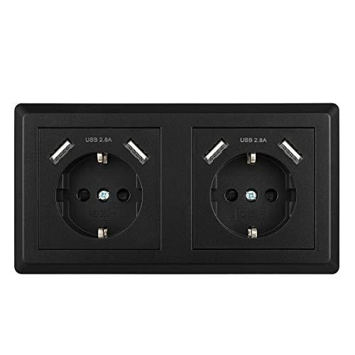 Enchufe de Pared Doble, Toma de Corriente Pared Schuko Enchufe con USB Negro Superficie para Dormitorio, Cocina, Oficina, Hotel, etc