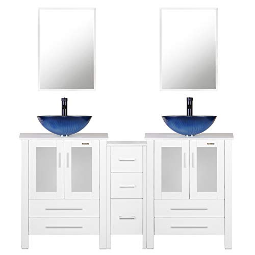 eclife 60'' Bathroom Vanity Sink Combo White W/Side Cabinet Vanity Ocean Blue Round Tempered Glass Vessel Sink & 1.5 GPM Water Save Faucet & Solid Brass Pop Up Drain, with Mirror(A11 2B02W)