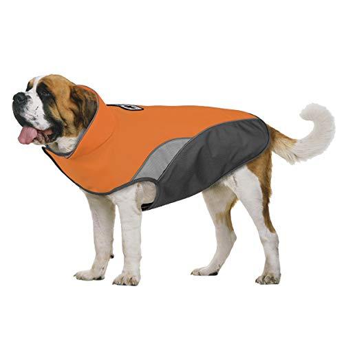 TFENG Hundejacke für Hunde, Wasserdicht Hundemantel Warm gepolstert Puffer Weste Welpen, Orange, Größe 3XL