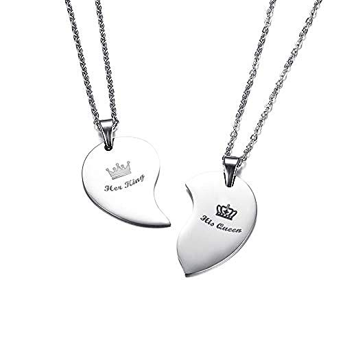 NC56 Fashion His Queen & Her King Crown Heart Necklace Stainless Steel Couple Love Forever Wedding Pendant Jewelry