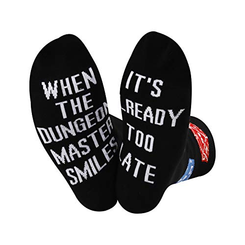 Dungeon Master Socks When The Dungeon Master Smiles It's Already Too Late Socks RPG Gamer Geschenk, U.Too Late, M
