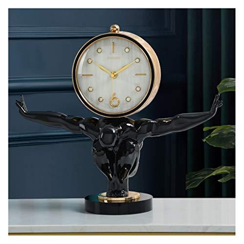 Relojes de escritorio Reloj de mesa de metal Base de cristal negro Sala de estar Decoración de mesa Reloj de vino Adornos de vino Caracteres nórdicos Tabla pequeña Reloj Despertador ( Color : B )