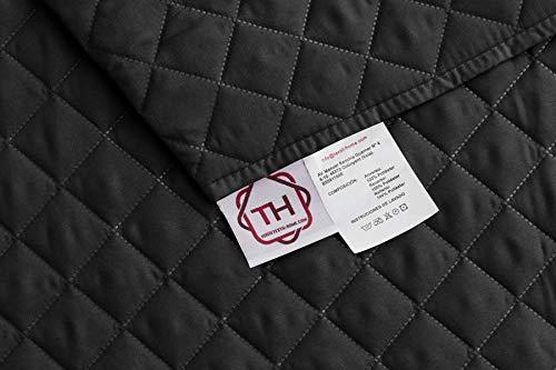 Textilhome - Salvadivano Trapuntato Copridivano Malu 3 posti Reversibile. Colore Nero