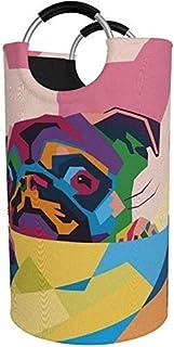 82L X-Large Panier à Linge Grand, Vintage Coloré Carlin Panier À Linge Pliable Pour Chien Avec Poignées En Aluminium Grand...
