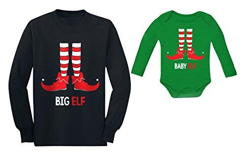 Big Brother / Sister Elf & Baby Elf Conjunto combinando para irmãos de Natal, Elfo grande preto/verde bebê, Big Elf 5/6 / Baby Elf 6M (3-6M)