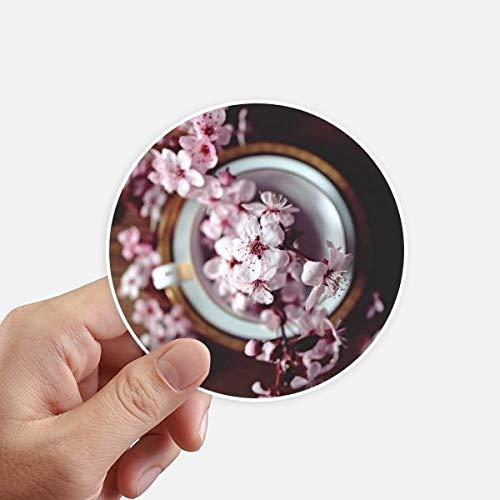DIYthinker roze pruim bloesem Vaas ronde Stickers 10Cm muur koffer Laptop Motobike Decal 8 Stks