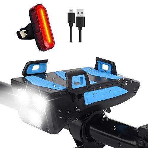 SYTUAM Luces Bicicleta Recargables,con Bocina 5modos 4000mAh 480lm,Luces Bicicleta Delanteras y traseras superbrillantes 3+5modos Impermeable con Soporte para teléfono móvil (Mejora de la luz trasera)