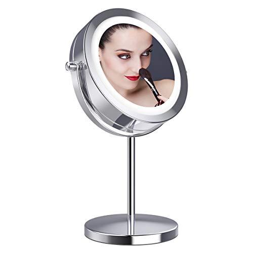 Gospire拡大鏡10倍 LED拡大鏡 化粧鏡 LEDミラー 卓上ミラーled 化粧ミラー 360度回転ミラー LEDライト付きミラー 真実の北欧風卓上鏡 卓上鏡 LED化粧鏡 両面化粧鏡 スタンドミラー