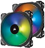 Corsair ML140 PRO RGB LED 140 mm PC-Gehäuselüfter (mit Magnetschwebetechnik, PWM, mit Lighting Node und Hub, 2er-Pack) Schwarz