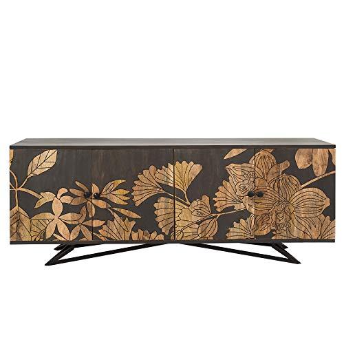 riess-ambiente.de Massives Sideboard Jungle 175cm Mangoholz Florales Design Anrichte Kommode Wohnzimmerschrank