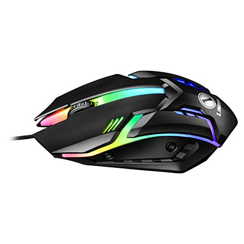 ENTWINO USB Wired Gaming Mouse D1 Black, LED Backlight up to 3200 DPI, Ergonomic Design for Laptop & PC