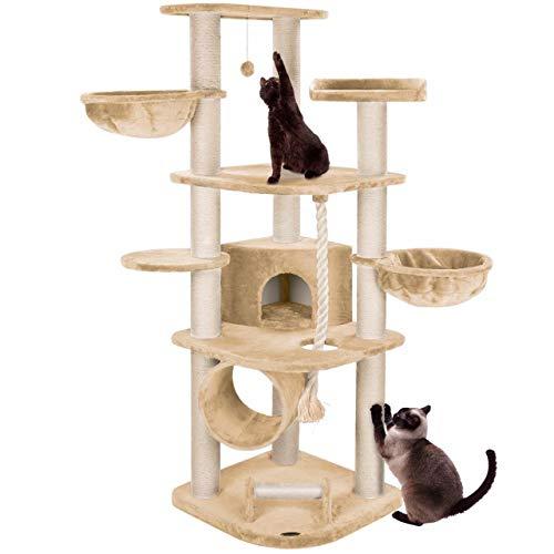 happypet® Kratzbaum für Katzen groß 181 cm hoch CAT021 Kletterbaum Katzenbaum, stabile extra dicke Sisal-Säulen ca. 11cm, Haus Spieltunnel, große Liegemulden (Belastbarkeit 15 kg) Tau Kratzrolle BEIGE