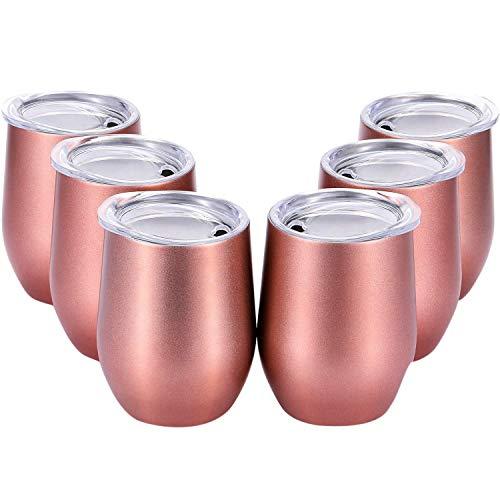 NICERE 1 juego de 6 piezas de 12 onzas irrompibles vasos de vino sin tallo, acero con triple aislamiento, taza de vino con tapas