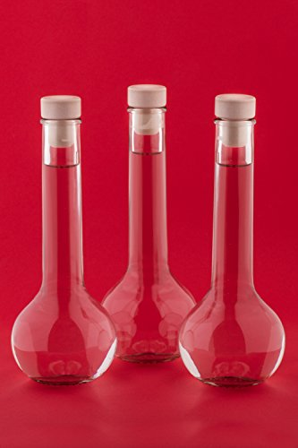 slkfactory - Juego de 10 Botellas de Cristal vacías de 200 ml, para Rellenar, 0,2 L, Licor, vinagre, Aceite, Zumo, Vino