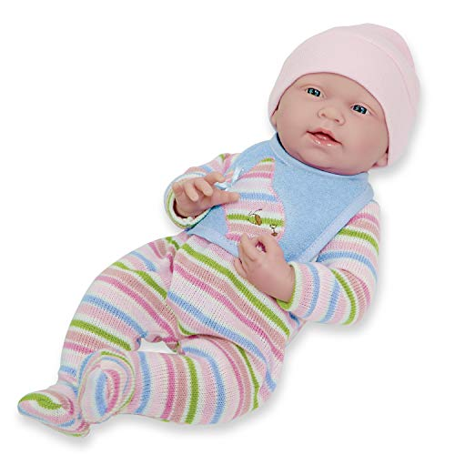 "JC Toys, La Newborn All Vinyl Anatomically Correct Real Girl 15"" Baby Doll in Striped Long Sleeved Pajama Outfit - for Children 2 Years and Older Designed by Berenguer Boutique - Made in Spain"
