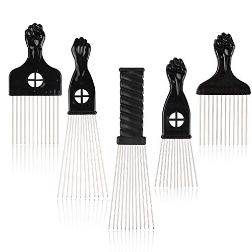 Folansy 5 Pcs Afro Comb Metal African American Pick Comb Hairdressing Styling Tool Hair Pick for Hair Styling