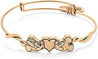 Kissing Mickey and Minnie Mouse Alex and Ani Charm Bracelet (Gold)