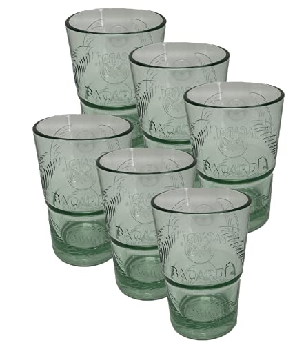 BACARDI Cocktailglas Mojito-Glas Tumbler, Trinkglas Grün getönt (6X 36 cl Glas)