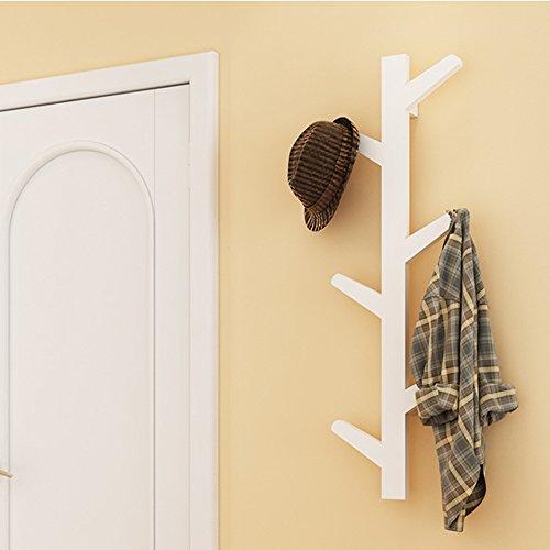 yazi Creative Tree Style Wall Mounted Hanger Coat Hat Rack Hook Solid Home Bedroom Art Decoration White