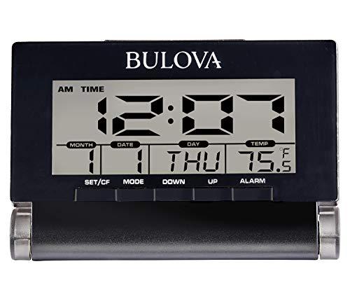 Bulova Travel Time Alarm Clock, Black