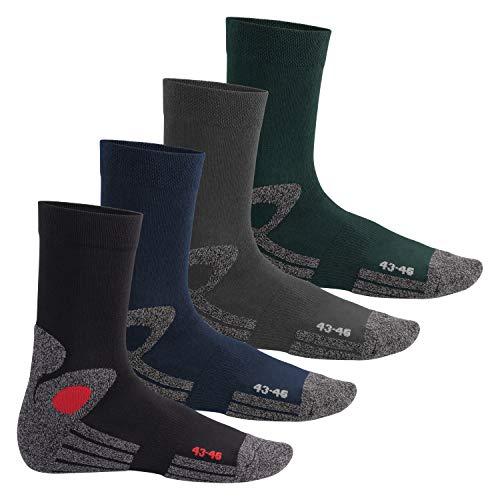 Celodoro Damen und Herren Trekking-Socken (4 Paar), Arbeitssocken mit Frotteesohle - All Colours 43-46