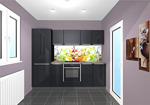 TiDis Küchenrückwand/Nischenverkleidung/Fliesenspiegel perfekt für die individuelle Küche - 180x55cm (BxH) Motiv: Früchte