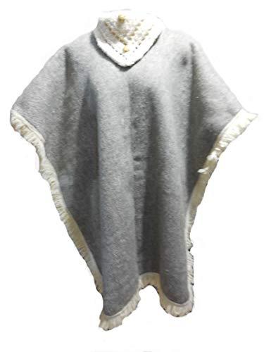 Textiles Mexicanos Damen-Poncho aus Wolle - Grau - Einheitsgröße