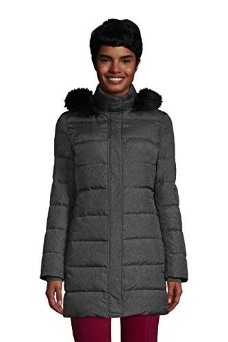 Lands' End Womens Down Winter Coat Dark Stone Heather Tall X-Large