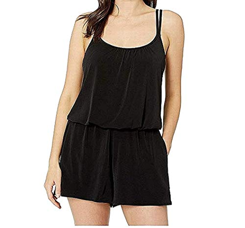 Maxine Of Hollywood Women's Romper One Piece Swimsuit, Black//Solid Tricot, 12
