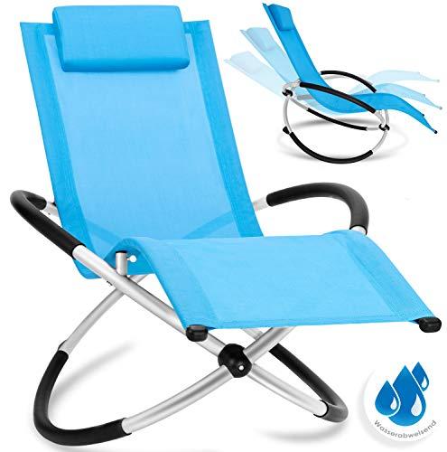 KESSER® Relaxliege Liegestuhl | Gartenliege Sonnenliege | Gartenstuhl | Klappstuhl faltbar | Schwungliege | Schaukelsessel | ergonomische Relaxsessel | wetterfest | 180 kg Belastung | Blau