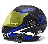 JIBO Casco Frontal con Bluetooth para Motocicleta, Casco Integral Anticolisión para Motocicleta con Visera Doble Antivaho, Accesorios para Motocicleta para Adultos Y Niños,J_XS=53~54cm