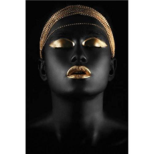 YALUO Pulsera de Oro Arte Lienzo Impresión Pintura Africana Lady Black Skin Mujeres Moderno Sala de Estar Imagen de la Pared Decoración del hogar Cartel