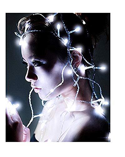 Samgu 5 mètres Blanc Lumière chaîne de LED 50Leds LED Guirlande led lampe ampoule éclairage étanche pour jardin décoration extérieur intérieure lumineuse, idéal pour Noël , fêtes , mariages, maison, sapin de noël