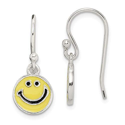 Boucles d'oreilles en argent sterling émaillé visage heureux
