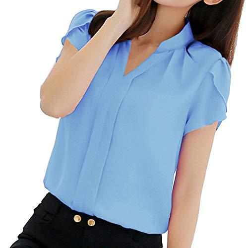 Damen Kurzarmhemden Business Chiffon Shirt V-Stand Kragen Casual Top Solid Color Vollknopf Slim Fit