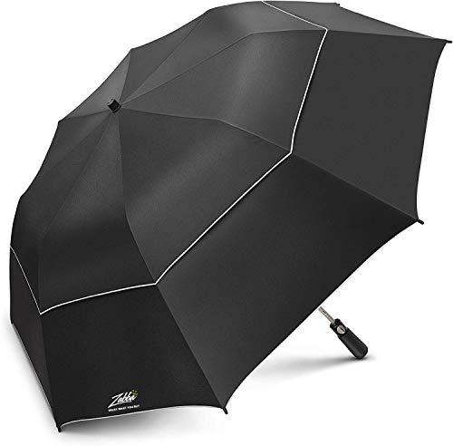 EEZ-Y 58 inch Compact Golf Umbrella UPF 50 Plus UV Protection - Large Windproof Double Canopy - Sun and Rain Umbrellas