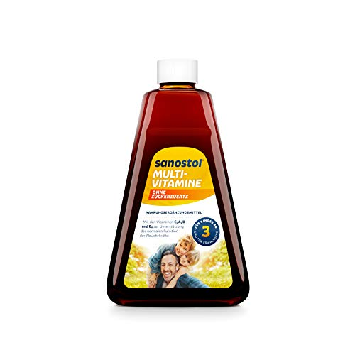 Sanostol ohne Zuckerzusatz: Multi-Vitamine für Kinder ab 3 Jahren und Erwachsene, unterstützt ein gesundes Immunsystem mit den Vitaminen A und D, 460ml