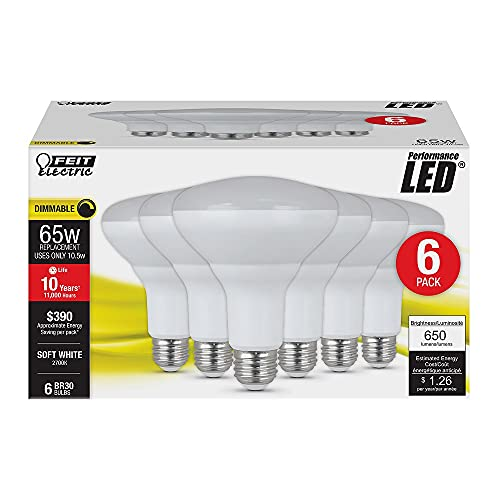 Feit Electric BR30/DM/10KLED/6 65W Equivalent 10.5 Watt 650 Lumen Dimmable LED BR30 Flood Light Bulb, 5'H x 3.75'D, 2700K Soft White, 6 Piece