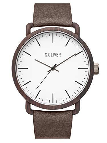 s.Oliver Herren Analog Quarz Uhr mit Leder Armband SO-3751-LQ
